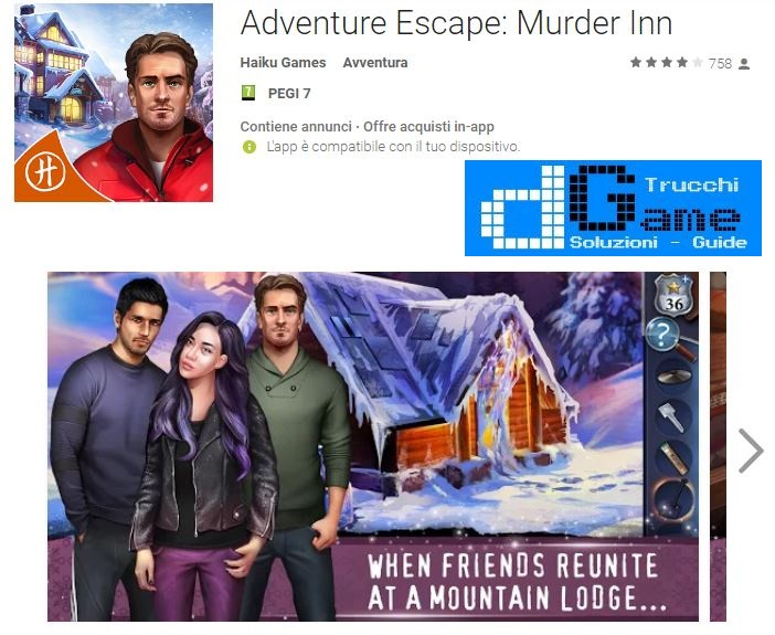 Soluzioni Adventure Escape: Murder Inn