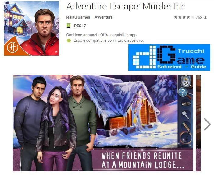 Soluzioni Adventure Escape: Murder Inn livello 1 2 3 4 5 6 7 8 9 10 | Trucchi e Walkthrough level