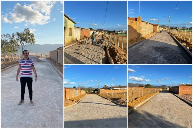 Prefeito Phellipe Brito visita obras de pavimentação em ruas do Bairro Maracujá em Ituaçu