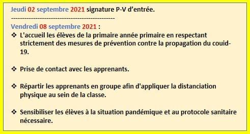نموذج مذكرة يومية باللغة الفرنسية لتدبير أسبوع التقويم التشخيصي
