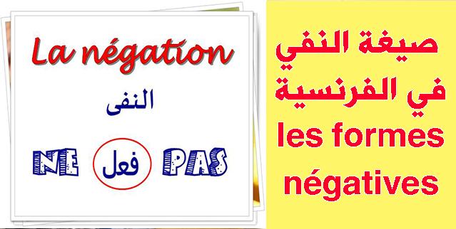 شرح درس صيغة النفي في الفرنسية les formes négatives