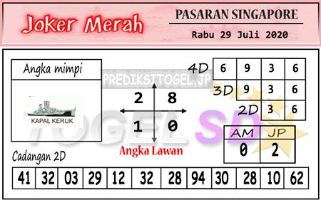 Prediksi Joker Merah SGP Rabu 29 Juli 2020
