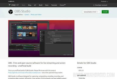 Install OBS di Linux Menggunakan Snap