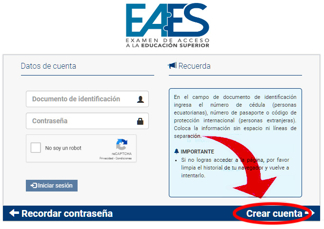 Crear Cuenta EAES 2020 Senescyt Ecuador - Inscripciones examenadmision.senescyt.gob.ec