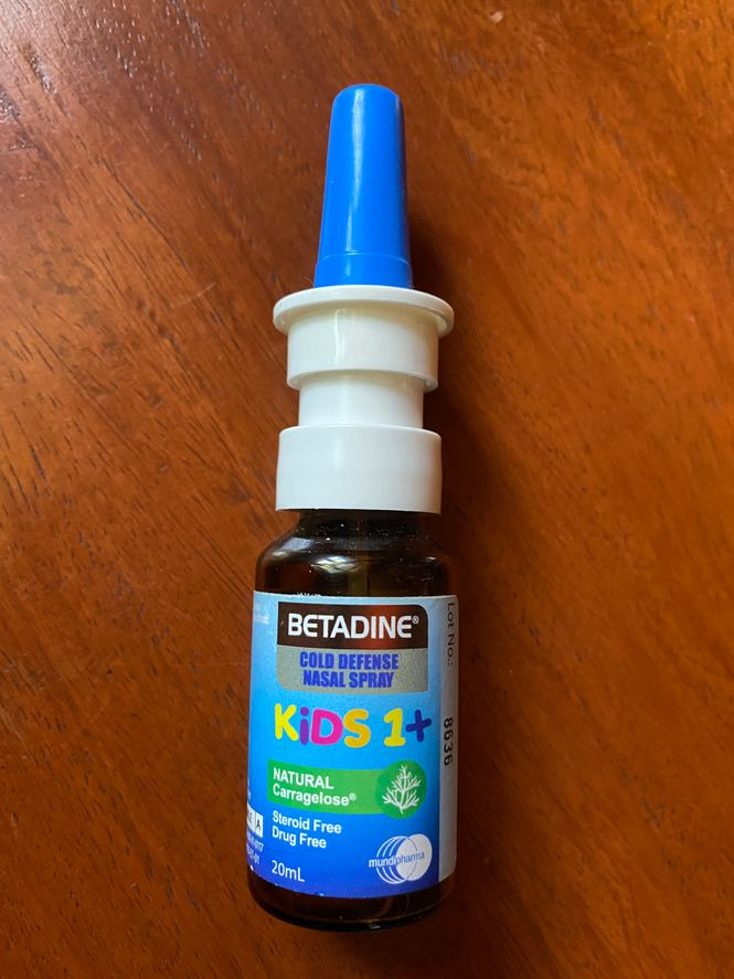 A bottle of Betadine Kids Cold Defense Nasal Spray