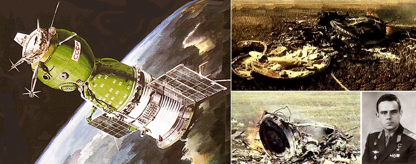 Soyuz 1 spacecraft (artistic depiction), the crash site and Vladimir Komarov.