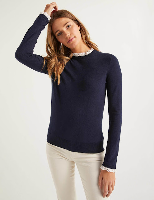 Boden Lincoln cotton frill jumper