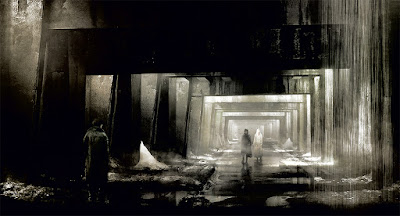 long underground corridor with concrete walls and 3 people meeting