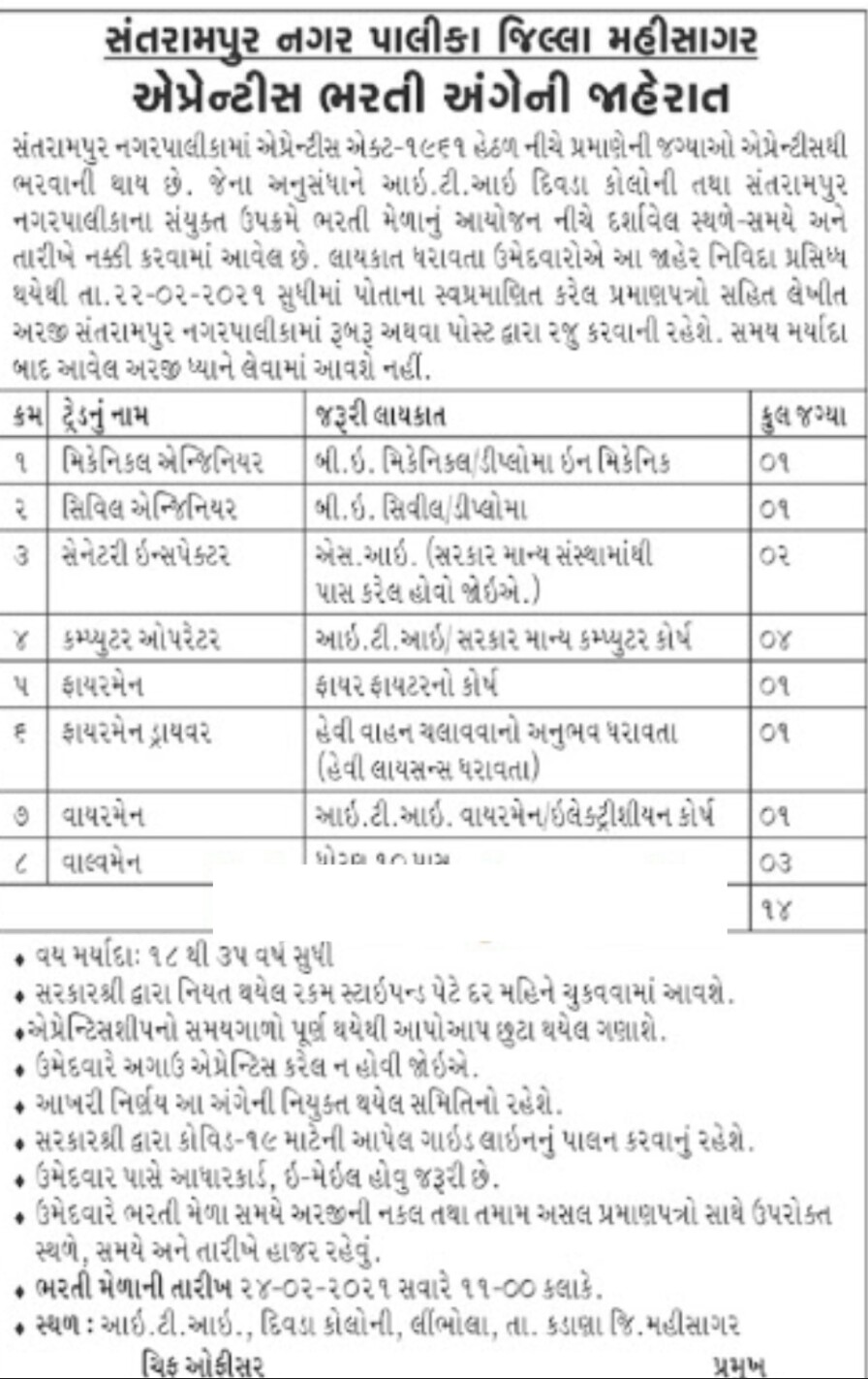 Santrampur Nagarpalika Apprentice Recruitment 2021 / Apprentice Recruitment 2021
