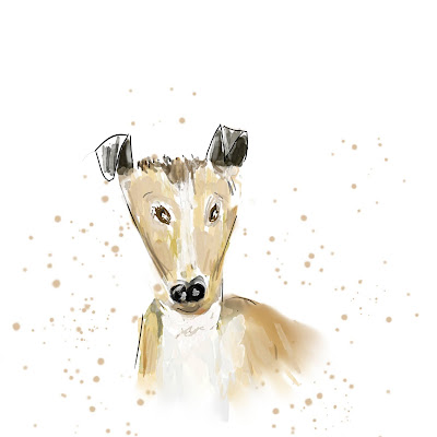 Cartoon Light Brown Dog With Cute Ears and a Watercolour Splash Background, Free to Download