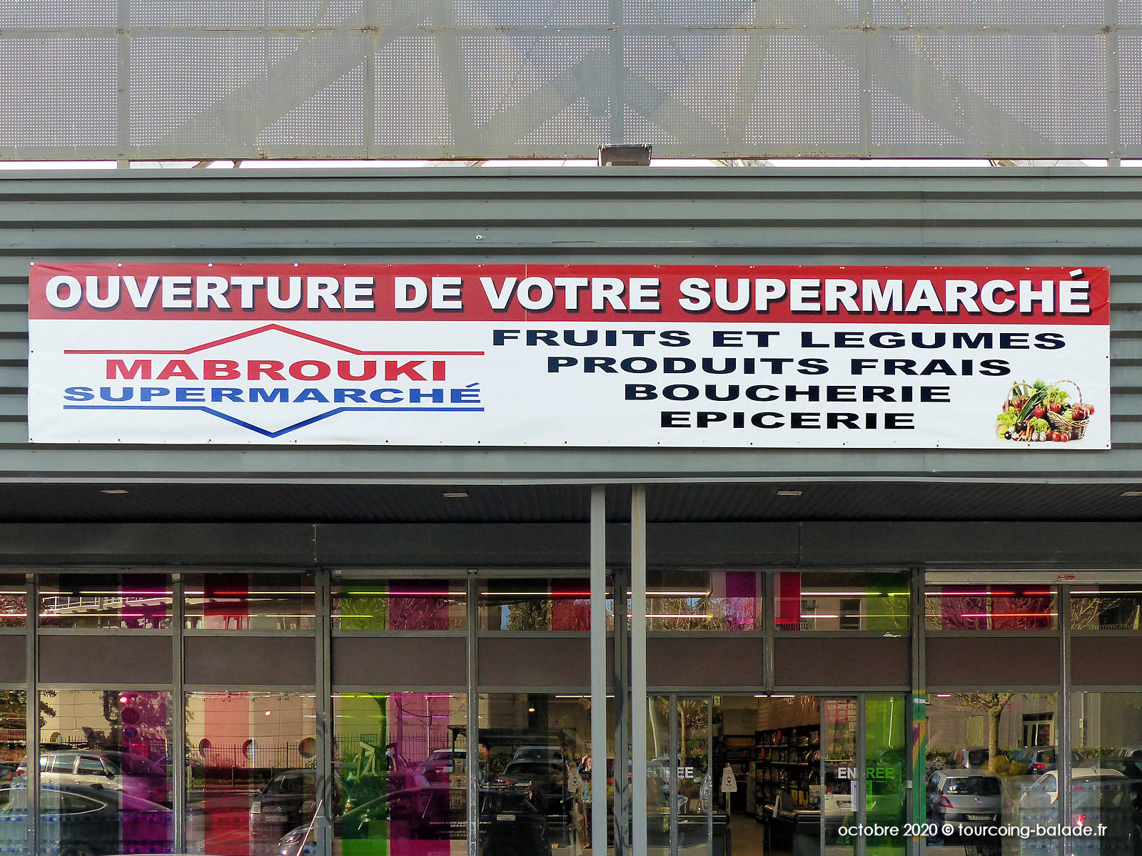 Enseigne du Supermarché Mabrouki, Tourcoing 2020