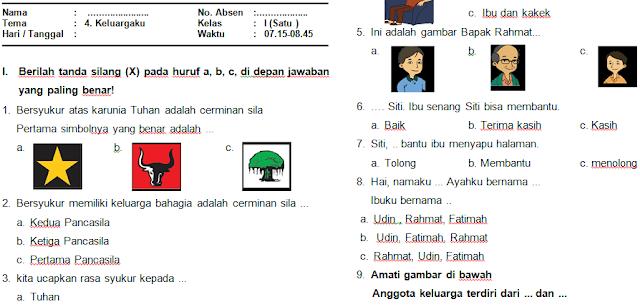 Download Soal PAS/UAS Kelas 1 Semester 1 Kurikulum 2013 (Tema 4: Keluargaku) Paket 2