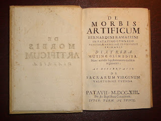 The first page of the 1713 edition of Ramazzini's work on the study of occupational diseases