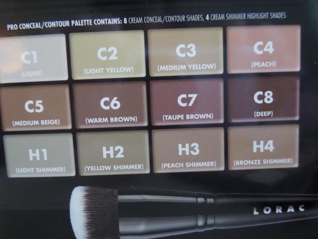 lorac pro conceal/contour palette color names