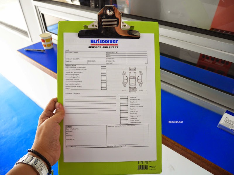 Autosaver Service Job Sheet