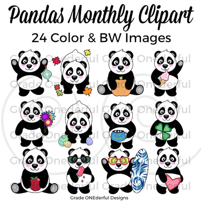 Panda Bear Monthly Clipart Set by Grade Onederful Designs