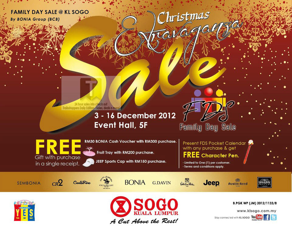 Bonia Group Family Day Sale 3 16 Dec 2012 Trailsshoppers Online Malaysia Sale Shopping Warehouse Discount