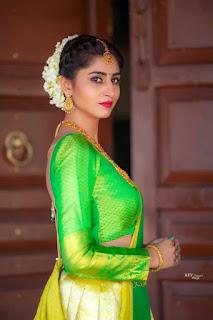Telugu TV Actress Varshini Sounderajan Pictures in Green Lehenga Choli (7)