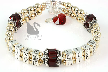 Charlene's Custom Live Life Give Life Red Heart Transplant Awareness Bracelet (B113-HRT-3)