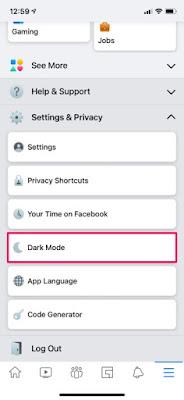 كيفية تمكين الوضع المظلم في فيسبوك على أيفون