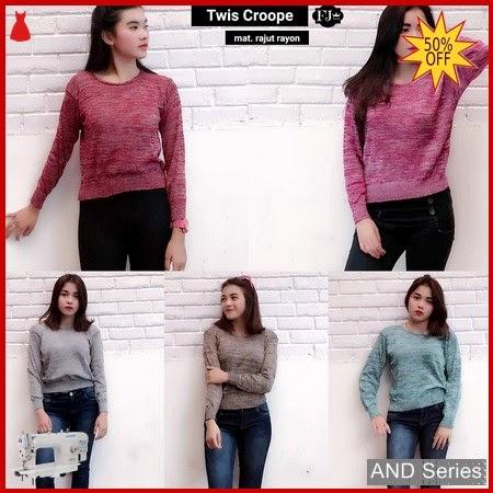 AND101 Baju Atasan Wanita Kaos Rajut Twist BMGShop