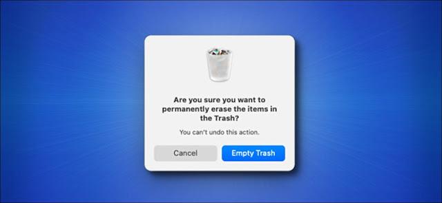 نافذة تحذير من القمامة الفارغة من Mac Big Sur