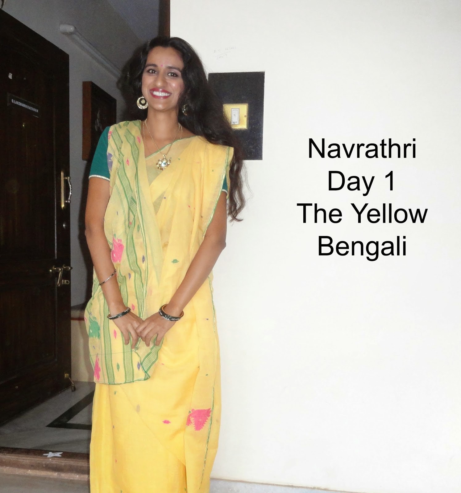 Navrathri Day 1 outfit: The Yellow Bengali image