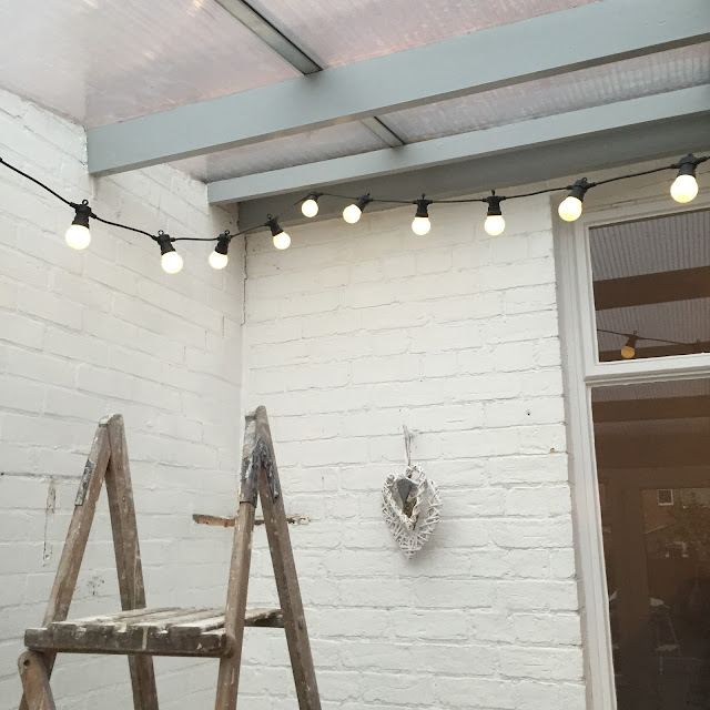 festoon lights in conservatory