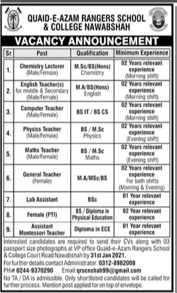 Quaid-e-Azam Rangers School & College Jobs 2021 For General Teacher, Lab Assistant and more
