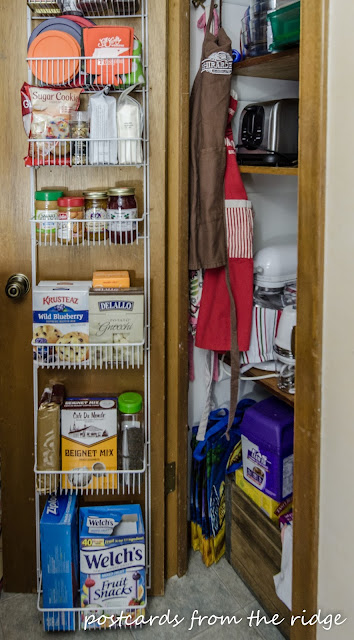 Pantry door organizer plus many more ideas for kitchen organization.