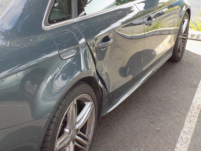 Collision caused damage to door and quarter panel.