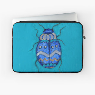 blue beetle bug laptop sleeve