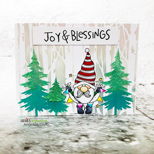 ScrappyScrappy: Unity Stamp - Christmas Edition #scrappyscrappy #unitystampco #card #cardmaking #christmascard #holidaycard #youtube #quicktipvideo #stamping #christmasedition #christmaself #christmastreee #birchwood #glitzglittergel #timholtzstencil #backgroundstencil #joyandblessings