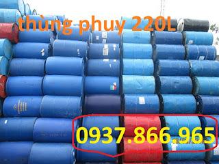 Thùng phuy nhựa 220L đựng hóa chất nắp mở