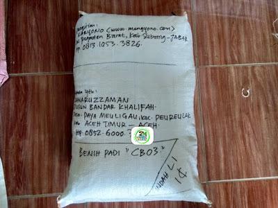 Benih Padi Pesanan  KAMARUZZAMAN Aceh Timur, Aceh.  (Sesudah di Packing)
