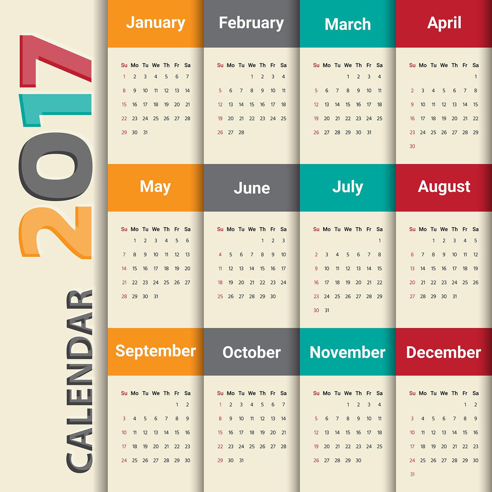 2017カレンダー無料テンプレート123