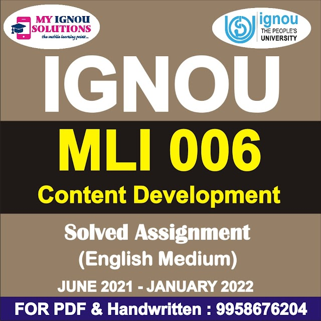 MLI 006 Solved Assignment 2021-22