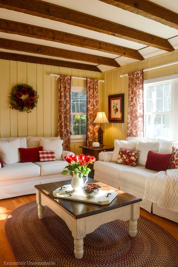 Cottage Style Living Room Makeover With Red Curtains