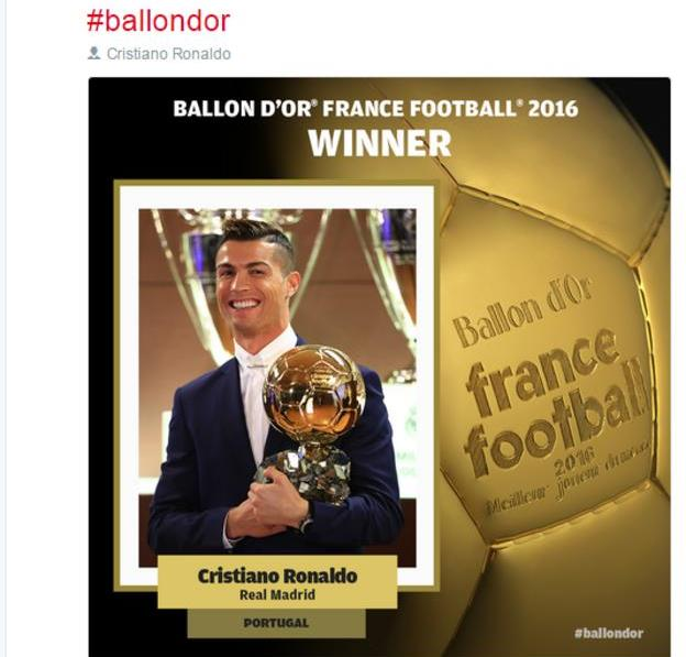Cristiano Ronaldo wins FIFA Ballon d'Or for the fourth time