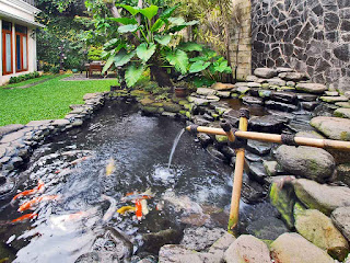 kolam ikan koi dengan batu alam