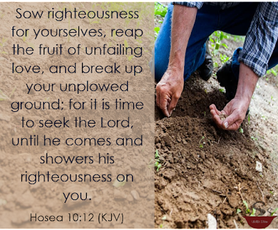 A man sowing seeds on the right with the verse on the left.
