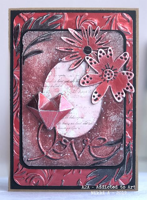 Tim Holtz Faceted Heart Die, Large Funky Florals and Metallic Kraft Stock
