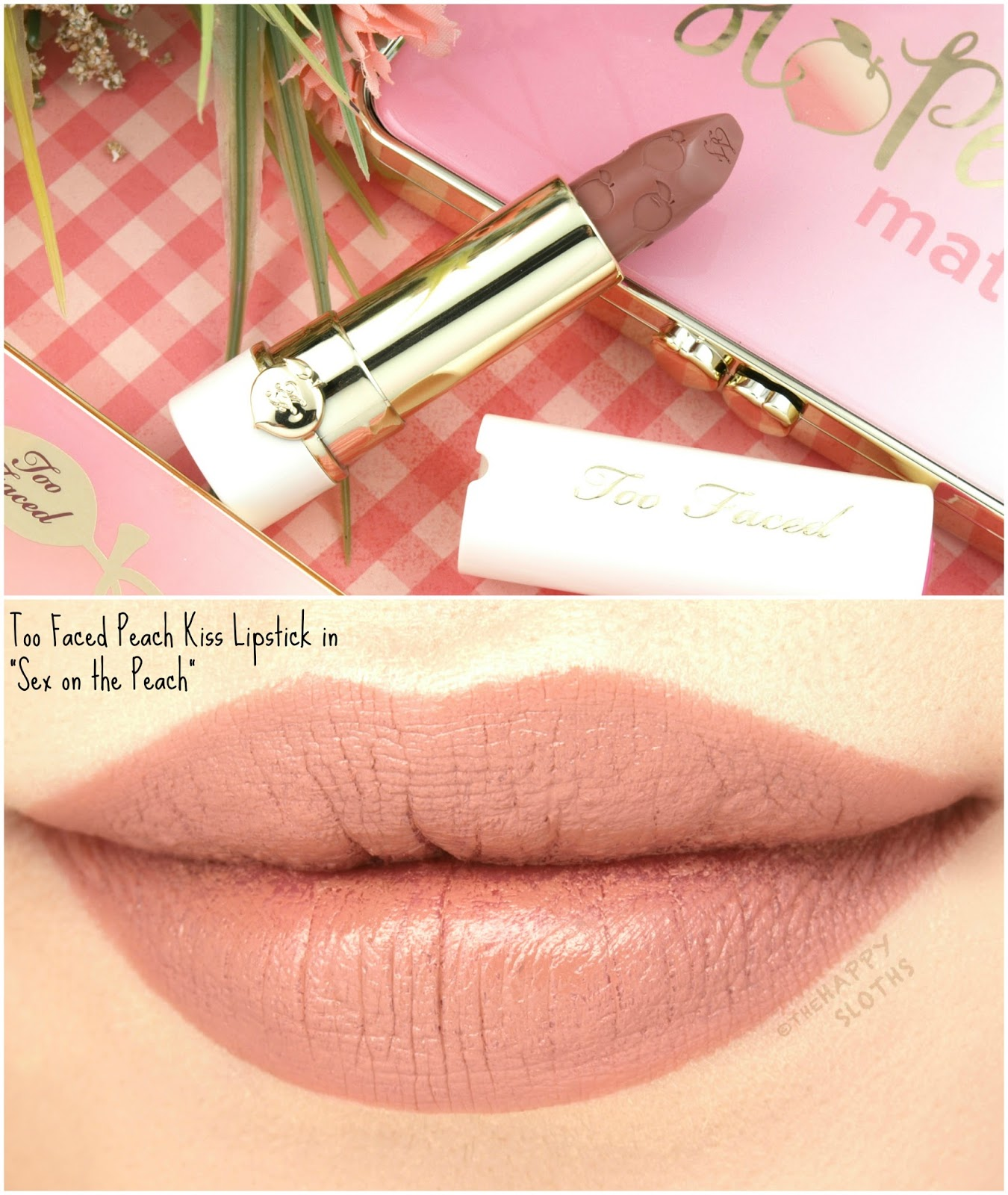 "Too Faced Peach Kiss Moisture Matte Long Wear Lipstick in ""Sex on the Peach"": Review and Swatches"