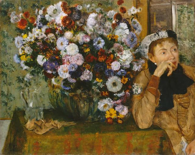 Эдгар Дега - Женщина, сидящая рядом с вазой с хризантемами (1865)