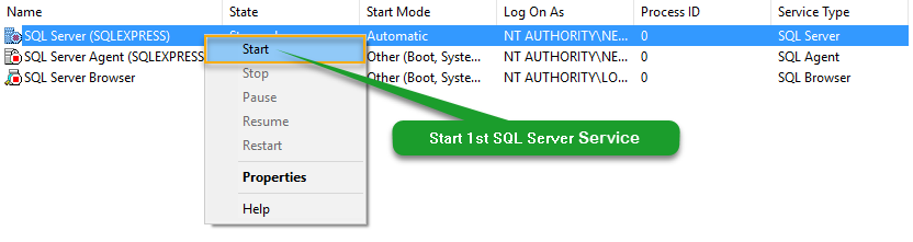 Start SQL Server (SQLEXPRESS) Service