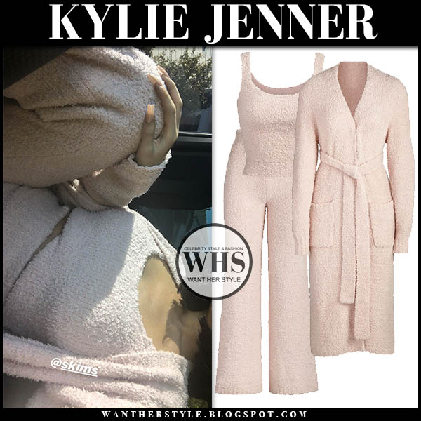 Kylie Jenner in blush pink skims knit top, skims knit cozy pants and skims robe. Celebrity loungewear december 2019