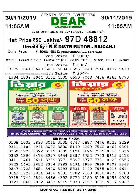 Lottery Sambad 30-11-2019 Sikkim State Lottery Result 11.55 AM-sambadlottery.org