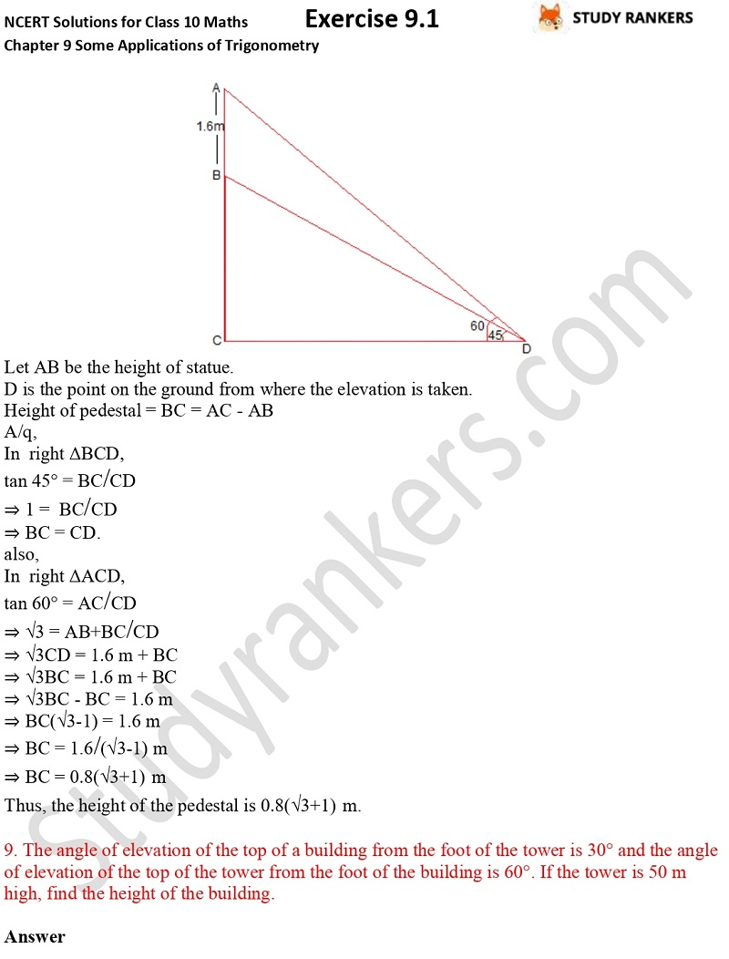 NCERT Solutions for Class 10 Maths Chapter 9 Some Applications of Trigonometry Exercise 9.1 Part 6