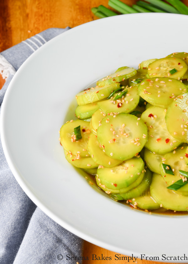 Asian Cucumber Salad is spicy sweet in a toasted sesame seed oil dressing with just a hint of honey is a favorite side dish recipe from Serena Bakes Simply From Scratch.