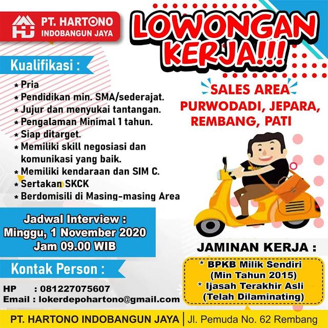 Lowongan Kerja Sales Toko Bangunan Depo Hartono Area Rembang Purwodadi Jepara Pati